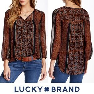 Lucky Brand Small Kaylee Peasant Top Black Graphic